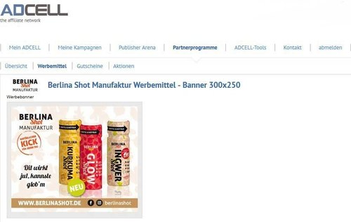 Berlina Shot Manufaktur goes Affiliate Marketing - Werbebanner für die Shots